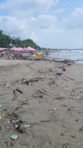 Legian beach trash garbage